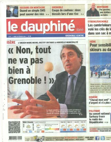 L'interview dans le Dauphiné Libéré au sujet de ma lettre aux Grenoblois