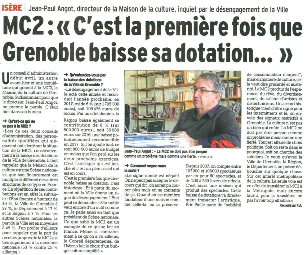 L'article du Dauphiné Libéré du 5 mai 2016