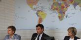 Président du Groupe d'amitié Ukraine-France de la RADA, le Ministre ukrainien des Affaires étrangères, et la Président de la CAE de l'Assemblée nationale