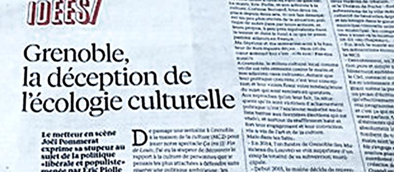 Article de Joël Pommerat sur la politique culturelle grenobloise actuelle