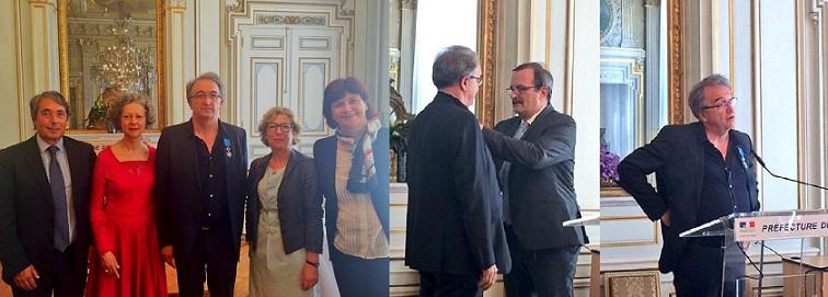 Cérémonie de remise des insignes de Chevalier de l'Ordre National du Mérite à Jean-Paul Angot à la Préfecture de l'Isère.