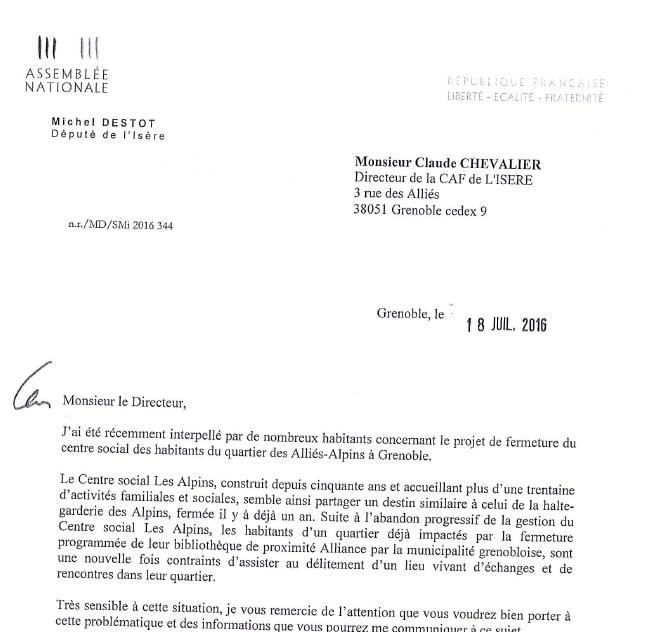 Intervention concernant la fermeture du centre social Alliés-Alpins
