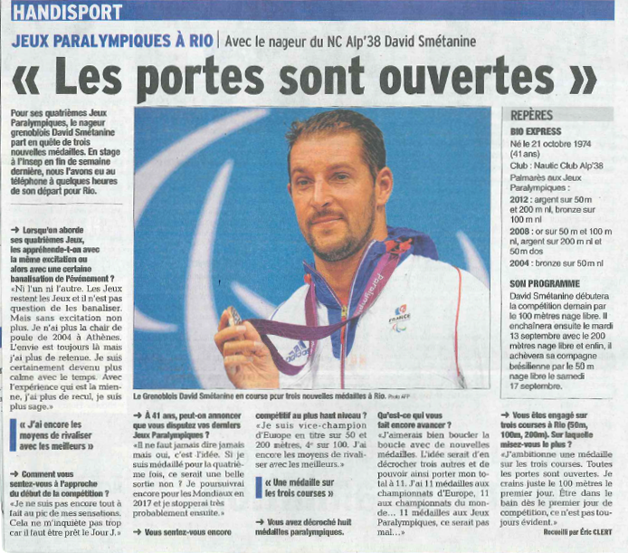 A l'heure des Jeux paralympiques : interview du nageur David Smétanine