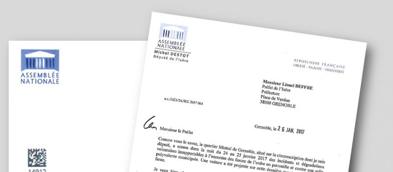 Ma lettre adressée au Préfet de l'Isère concernant la situation du quartier Mistral de Grenoble