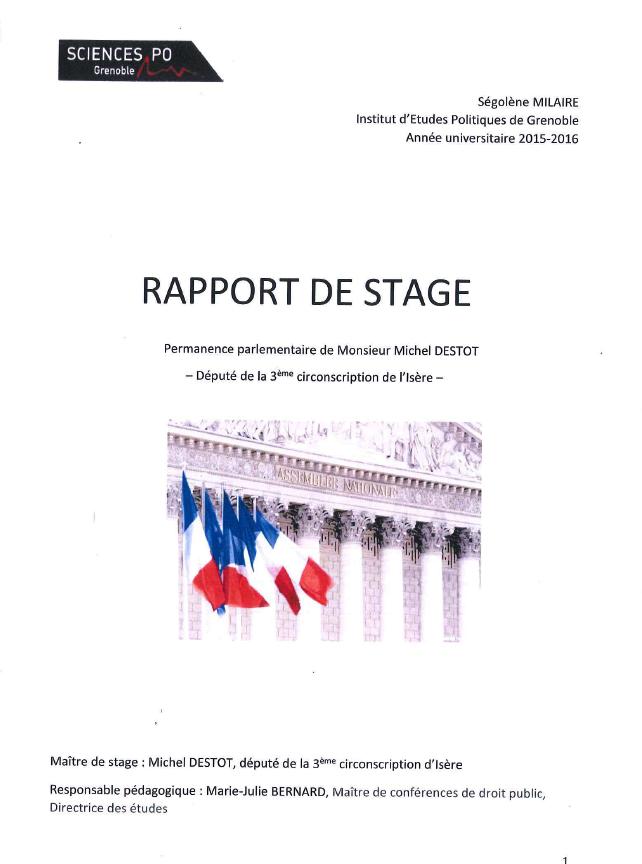 Rapport De Stage De Ségolène Milaire étudiante à Sciences