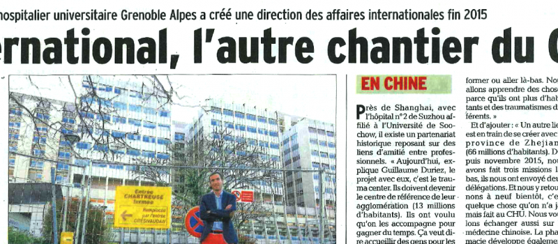 Article sur le CHU Grenoble Alpes qui met à l'honneur l'international