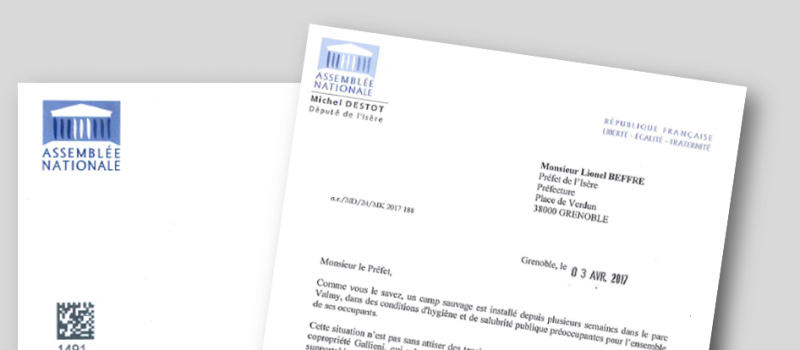 Ma lettre au Préfet concernant le camp sauvage du parc Valmy
