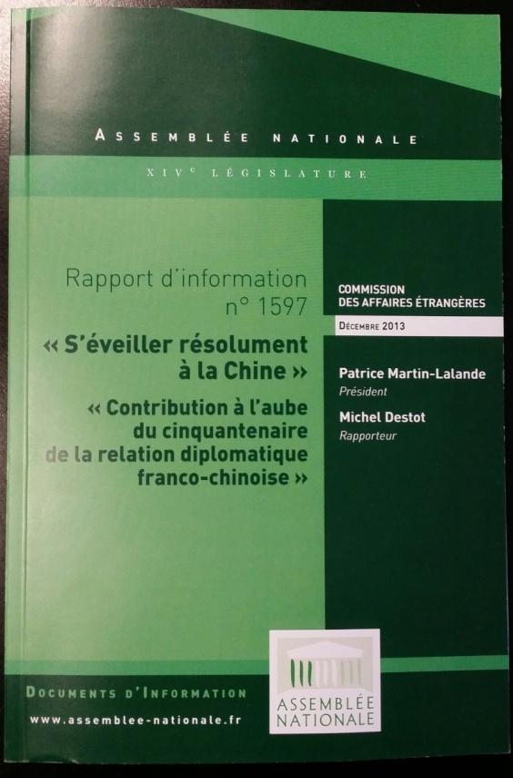 Présentation du rapport parlementaire «S'éveiller résolument à la Chine»