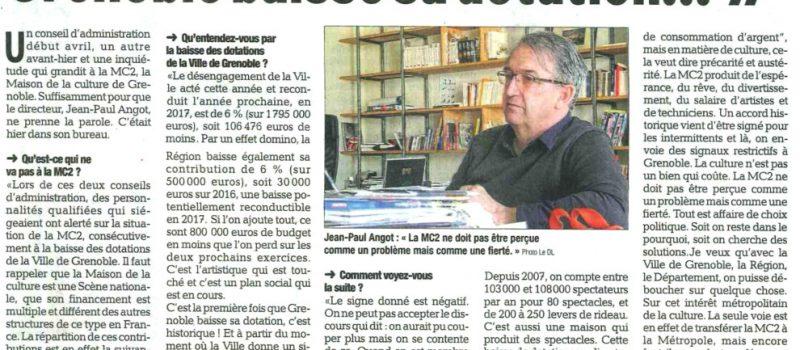 Baisse de subventions de la municipalité : le directeur de la MC2 Jean-Paul Angot exprime son inquiétude