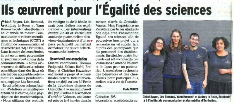 Premiers succès pour la jeune association «Egalité des Sciences» !
