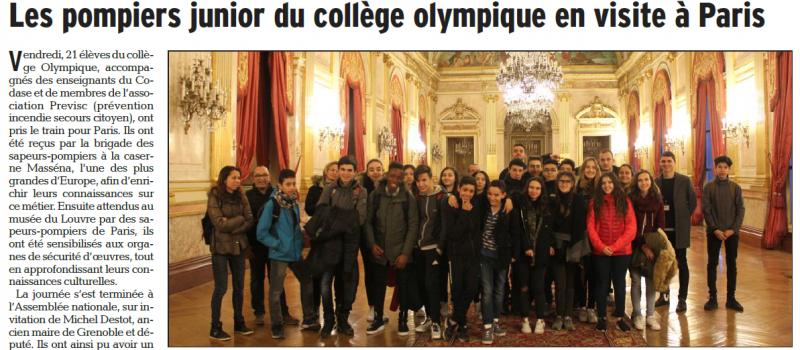 Les élèves-pompiers juniors du collège Olympique ont visité l'Assemblée nationale